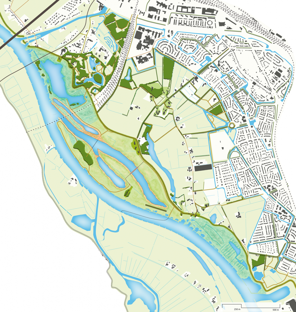 Masterplan of the new floodplain with at the right side Zwolle.