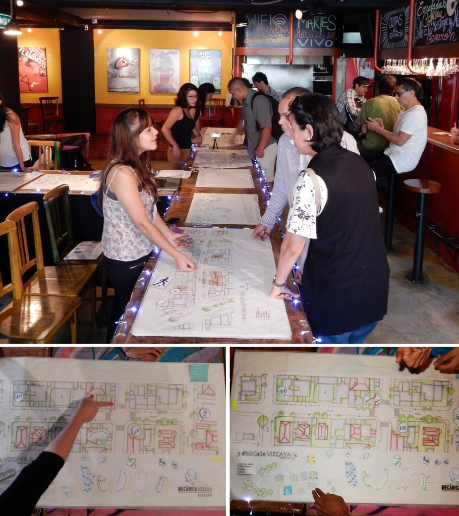 Figure 6: In the workshop #MiCalle many diverse topics are discussed using detailed maps like a board game.