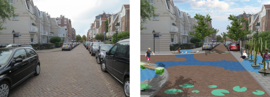 Example of a possible realisation for a quiet residential street with a narrow profile and having only destination traffic.