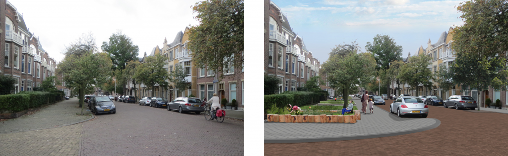 Example of a possible realisation in a residential street with a wider profile and relatively much continuous traffic.