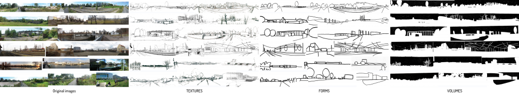 Fig.4: Picture reduction.1st step- Textures- Detailed drawing depicts landscape structure and attributes. 2nd step – Forms- Line drawing reveals spatial composition and relationship between different landscape elements. 3rd step – Volumes- Inverted representation of existing volumes underlies dominant landscape elements