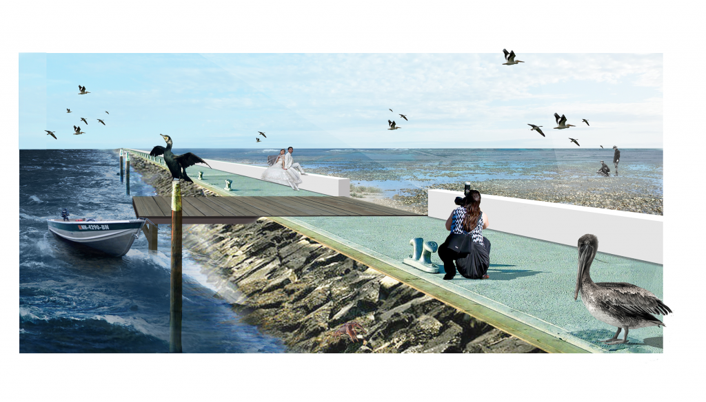 [Fig. 10] Impression of the bayside oyster reefs as a natural measure for flood safety in the bay