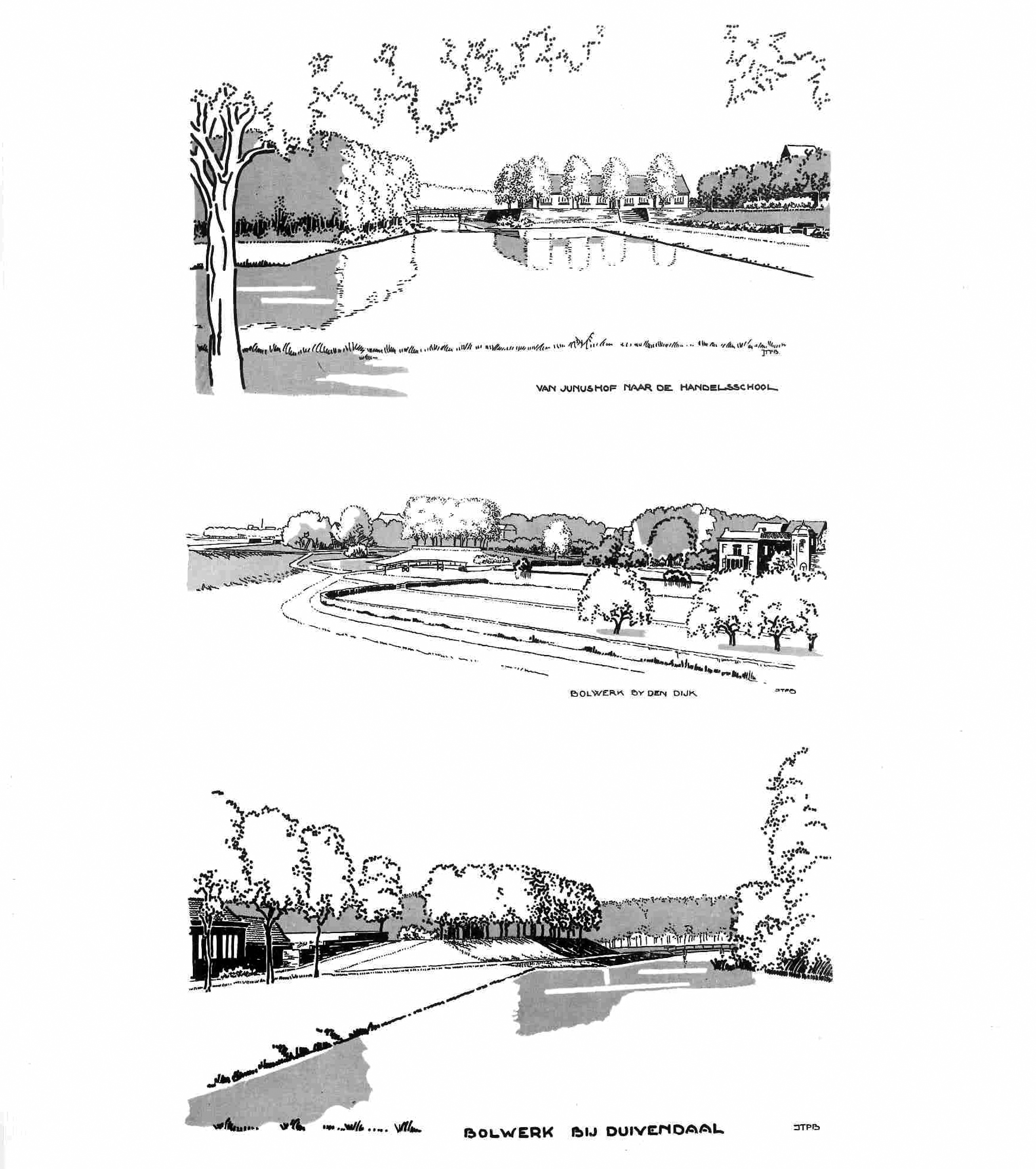 Figure 6. Drawings made by Bihouwer, illustrating the Reconstruction plan of Wageningen. Source: Bijhouwer, 1941.