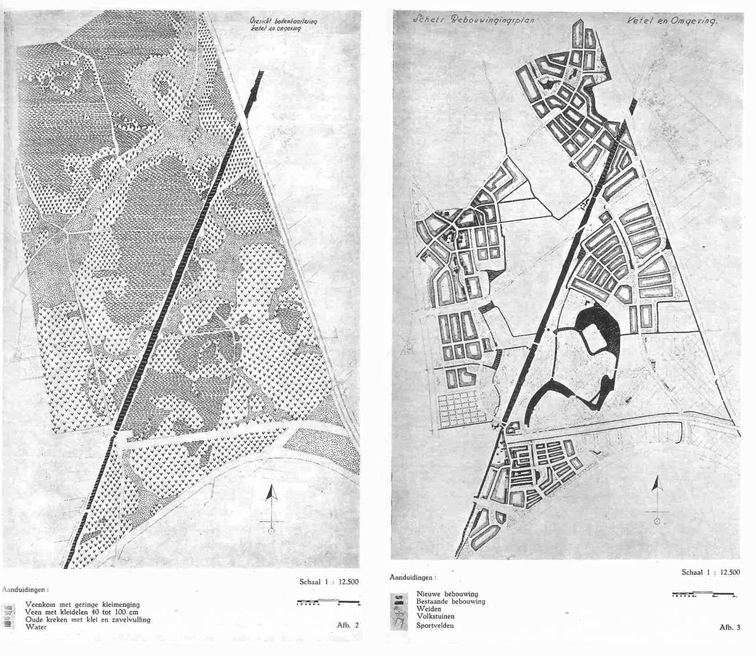Figure 7. Soilmap and Urban development plan for greentown Kethel (Schiedam) by Bijhouwer. Source: Bijhouwer, 1947.
