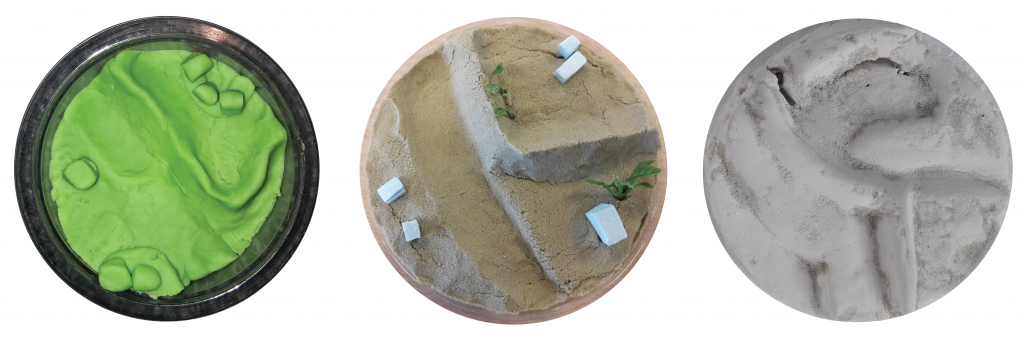Figure 4: From a series of experiments, Magic sand (mid) stood out as a suitable material for an explorative landscape study; more suitable than clay (left) and plaster (right)