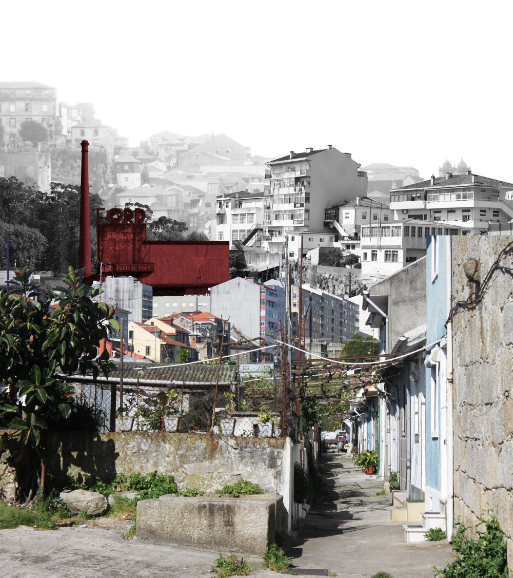 Figure 07: collage expressing the identity of the urban zone: dense residential tissue, with the hidden collective spaces of the ilhas, surrounding the interstices of Campanhã. Patches of derelict land remind of the industrial heydays within the densely populated areas.